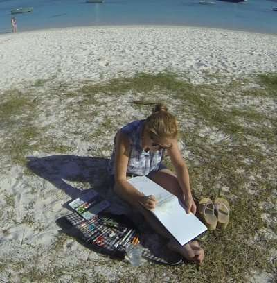 Sketching Coconut Harvesting in Mauritius