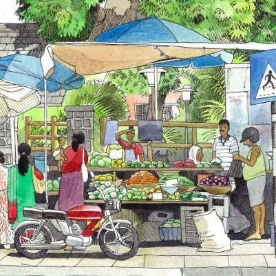 Indian Marketplace Drawing Drawing in Public: Fee...