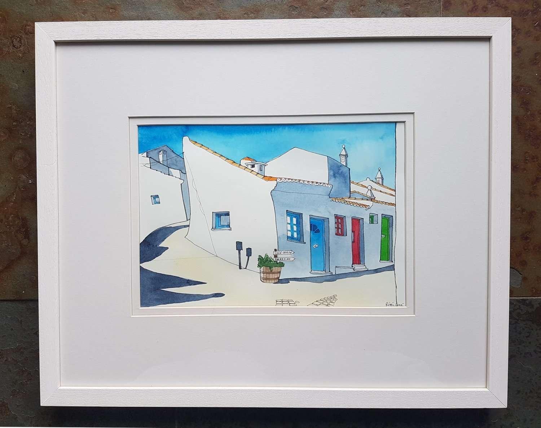 Algarve: Gloaming in Pedralva. Roisin Cure watercolour