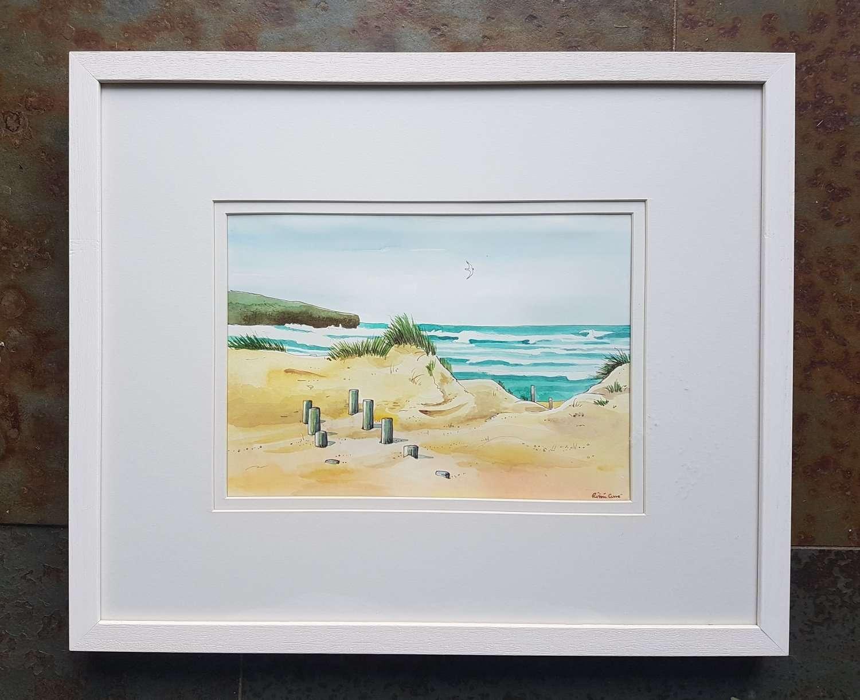 Algarve: Praia Mareta in Sangres. Roisin Cure watercolour